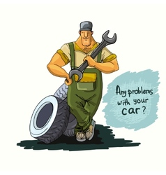 Auto mechanic with wrench and tires vector
