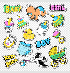 Baby shower doodle with boy girl and toys vector