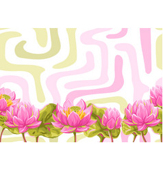 background with lotus flowers water lily vector image