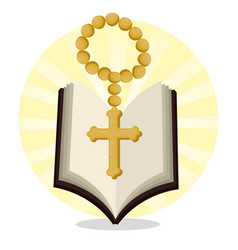 Bible with rosary beads to catholic event vector