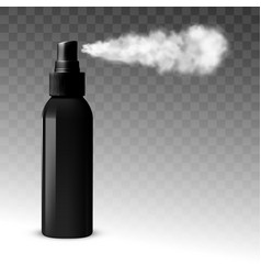 Black blank sprayer bottle side view with spray vector