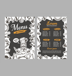 breakfast menu placemat vector image