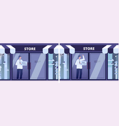 business lockdown market message opening store vector image