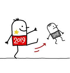 Cartoon big 2019 man kicking out a small 2018 vector