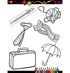 cartoon objects coloring page vector image