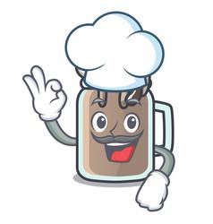 chef milkshake character cartoon style vector image