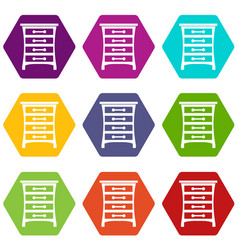 chest of drawers icon set color hexahedron vector image