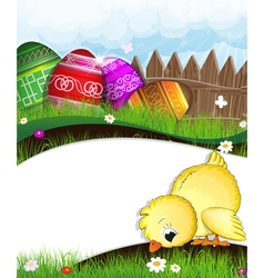 Chicken and painted eggs vector image