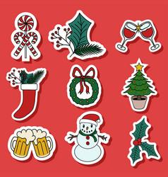 Christmas sticker vector
