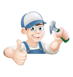 Claw hammer man over sign thumbs up vector