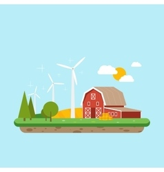 Clean energy in rural areas Farm barn near trees vector image