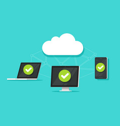 cloud storage network technology between devices vector image