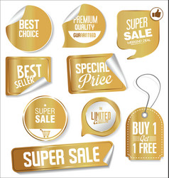 Collection of golden banners templates vector