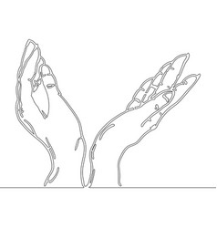 continuous line drawing of hands holding something vector image