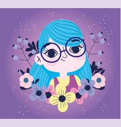 cute girl with flowers sprout botany purple vector image
