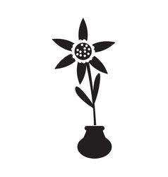 cute sunflower on a pot silhouette vector image