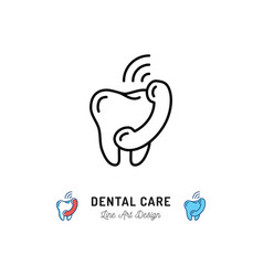 Dental care icon tooth and phone handset thin vector