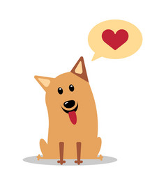 Dog with heart in thought cloud vector