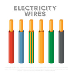 Electricity wires single core industrial cables vector