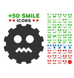 evil smiley gear icon with bonus emotion set vector image