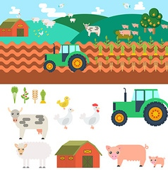 Farm in village Elements for game sprites and tile vector image