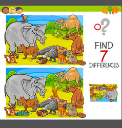 Find differences game with animal characters group vector
