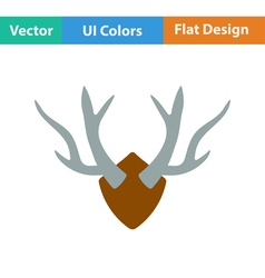 Flat design icon of deers antlers vector image