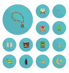 Flat icons minaret palm new lunar and other vector