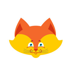 fox face isolated cute wild animal on white vector image
