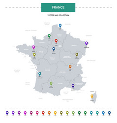 france map with location pointer marks vector image