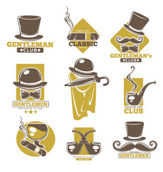 Gentlemen club logo labels set on white colorful vector