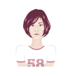 girl portrait in sport t-shirt with short hair - vector image