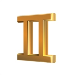 Golden zodiac sign Gemini vector image