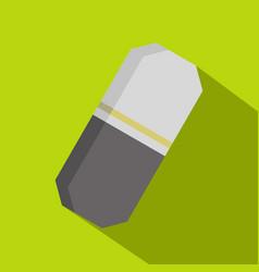 Gray rubber pencil eraser icon flat style vector