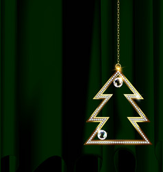Green drape with jewel christmas tree vector