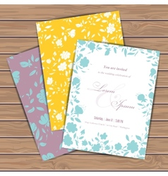 Greeting cards with flowers vector image