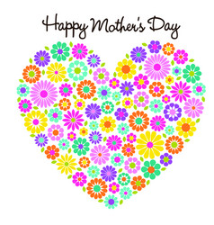 happy mothers day flower heart graphic vector image