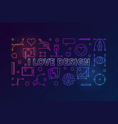 I love design colored horizontal line vector