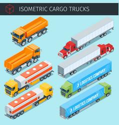 isometric cargo trucks vector image