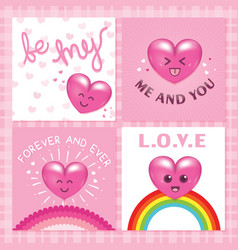 kawaii cute love lettering card pack vector image
