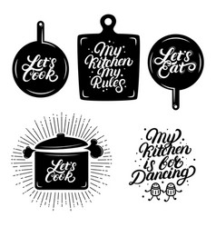 Kitchen hand written lettering quotes vector