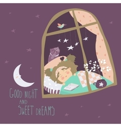 Little girl sleeping by the window vector image