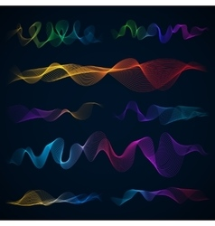 Luminous 3d sound waves energy effect set vector image
