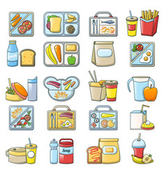 lunch break lunch food icons set cartoon style vector image
