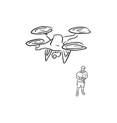 man operating of flying drone vector image
