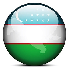 Map on flag button of Republic of Uzbekistan vector