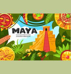 Maya world horizontal poster vector