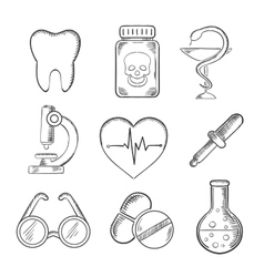 Medical and healthcare sketched icons vector