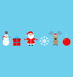 Merry christmas set line snowman santa claus deer vector