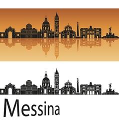 Messina skyline in orange background vector image vector image